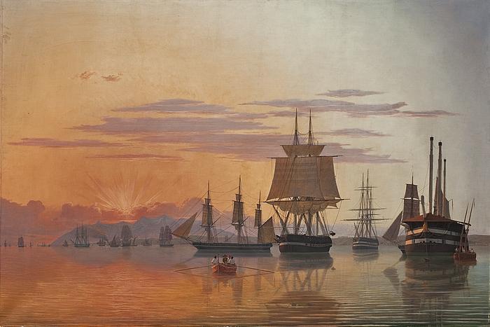Fregatten Thetis og korvetten Flora på Tajofloden ved aftenbelysning
