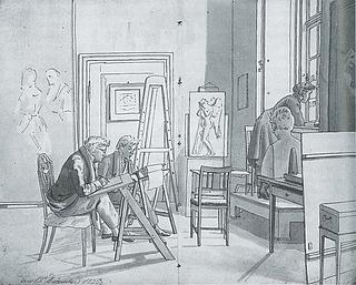 Martinus Rørbye: Interiør fra Kunstakademiet, skitsebog, 1825, Statens Museum for Kunst, inv.nr. KKS1974-23