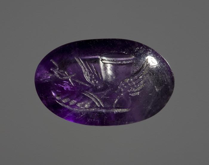 Bevinget Hermesfod og en heroldstav. Romersk ringsten