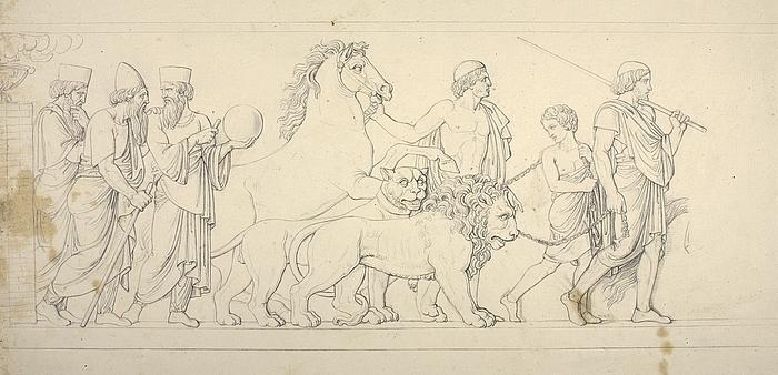 Tre kaldæiske astrologer, perser med en løve og en dreng med en tiger