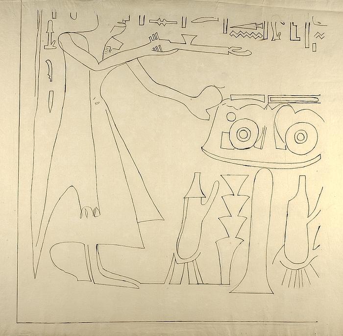 Motiv med figurer og hieroglyffer, nederste venstre parti