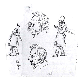 Wilhelm Marstrand: Sketches of Søren Kierkegaard and his father(?)