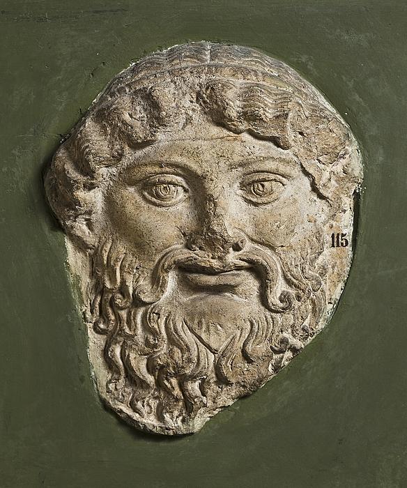 Campanarelief med skægget mandlig maske. Romersk