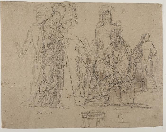 Prometheus og Minerva. Diomedes med Palladiet. Tempelfront