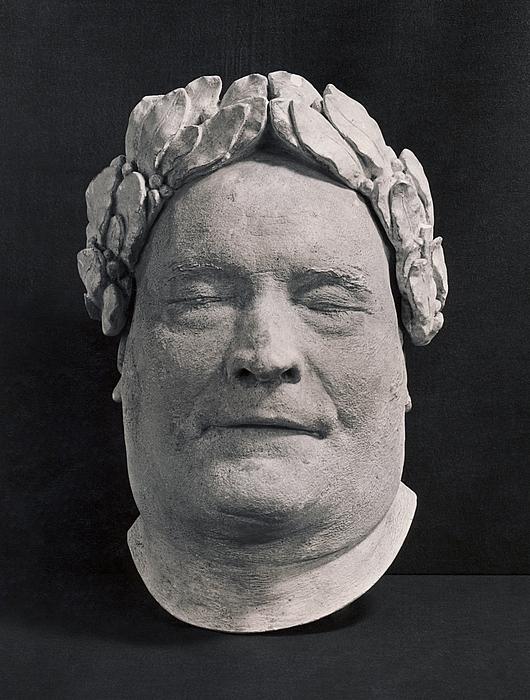 Thorvaldsen, dødsmaske med laurbærkrans