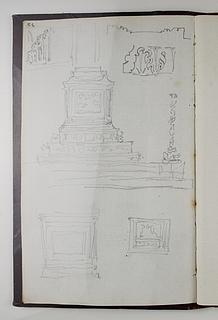 Opstillingsforslag for monument over Friedrich Schiller, grundplan, opstalt og ornamentdetaljer