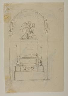 Et gravmæle med Nemesis der skriver på et skjold