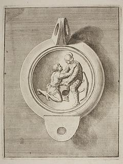 Lampe dekoreret med to gladiatorer i kamp
