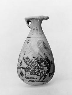Alabastron med to svaner. Græsk korinthisk