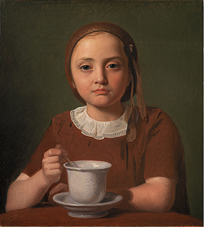 Constantin Hansen. En lille pige, Elise Købke, med en kop foran sig.