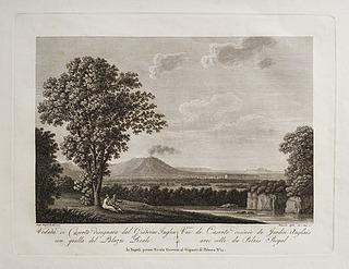 Veduta di Caserta disegnata dal Giardino Inglese con quella del  Palazzo Reale (Caserta tegnet fra den engelske have med udsigt til kongeslottet )