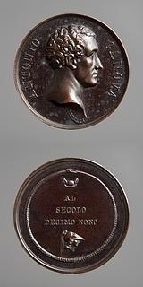 Medalje forside: Antonio Canova. Medalje bagside: Minerva og Merkurs vingede hat omkranset af en slange