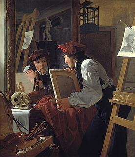 Wilhelm Bendz. En ung kunstner betragter en skitse i et spejl.