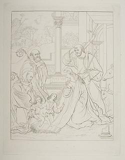 Tilbedelsen af Jesusbarnet med San Benedikt og Alberic