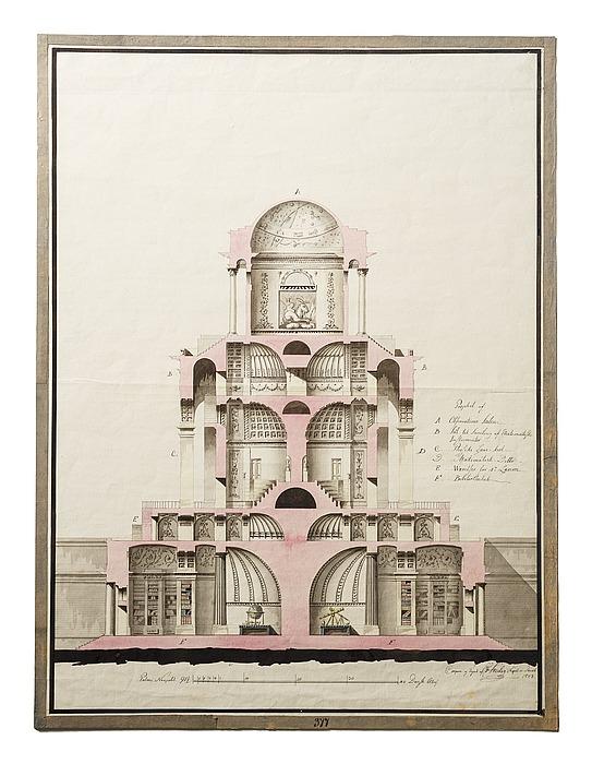 Astronomisk observatorium i romersk stil, snit