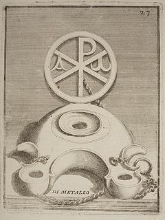 Lampe dekoreret med tegnene alfa og omega