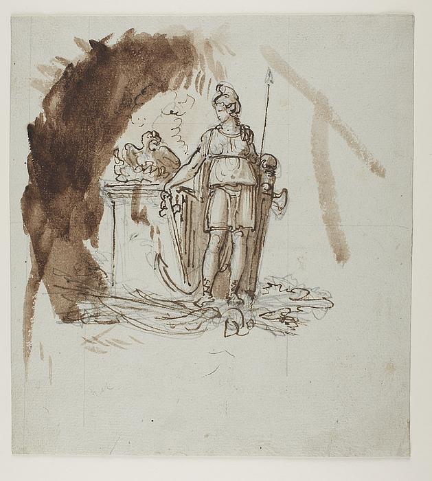 """Kvinde med frygisk hue. Udkast til monumentet """"Friheden"""" eller til et monument for sejren ved Tripolis (?)"""