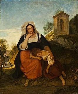 En italiensk bondekone med sin datter
