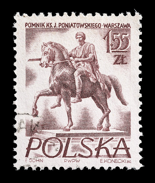 Polsk frimærke med Thorvaldsens statue af Józef Poniatowski