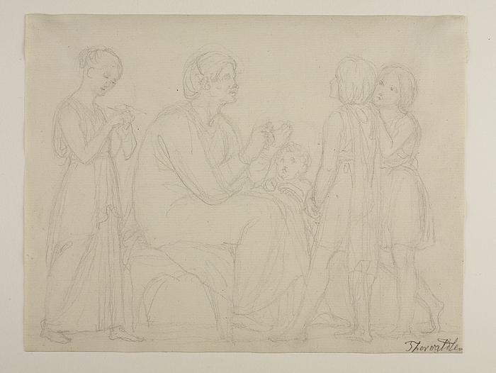 Ældre siddende kvinde og fire børn