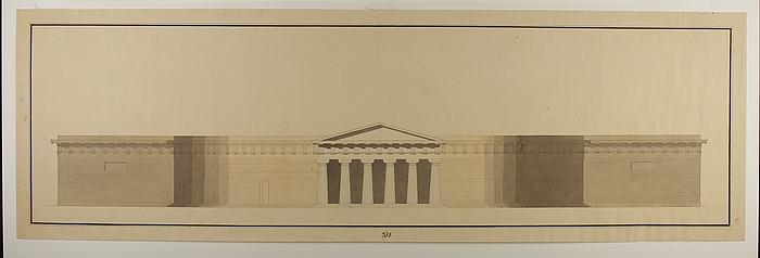 Badeanstalt, facade med dorisk portal