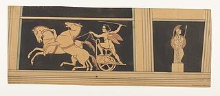 Amorin på vogn med en stejlende og en springende hest. Athene