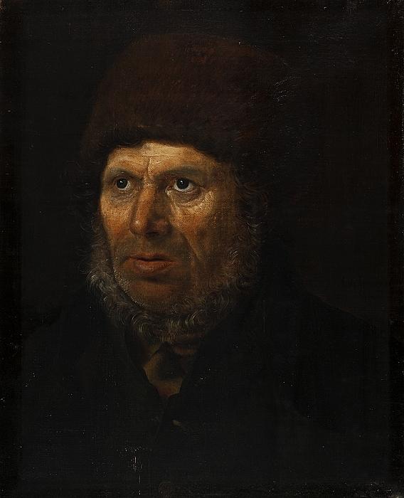 Portræt af gammel sømand med pelshue