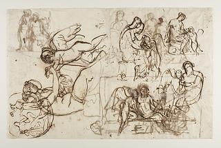 Amor klager til Venus over et bistik. Æskulap og Hygieia. Bacchantinde med en panter. Amor og Anakreon