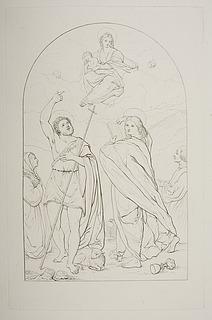Maria med barnet åbenbarer sig for Johannes Døberen, evantelisten Johannes og et ubekendt donorpar