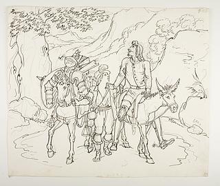 Don Quixote føres hjem af en bonde fra nabolaget