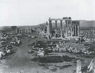 Constantin Athanasiou: Akropolis plateauet set fra øst med Erechtheion, ca. 1870