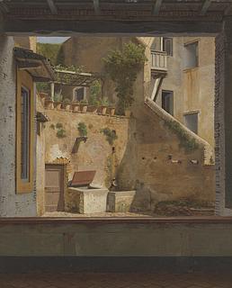 C.W. Eckersberg: Udsigt gennem et vindue til en gård i Rom/Romersk gårdinteriør