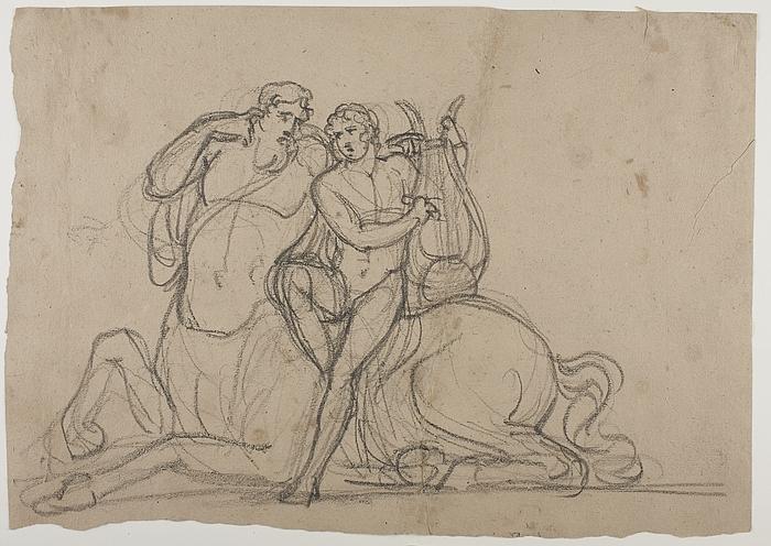 Chiron lærer Achilleus at spille på lyre