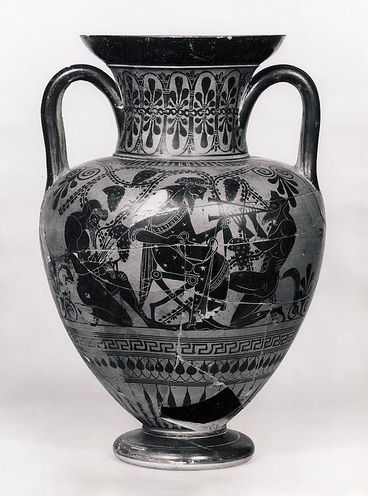 Amfora med Dionysos mellem silener (A) og vognscene (B). Græsk