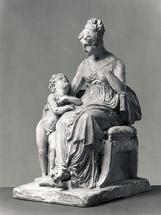 Siddende dame med en dreng