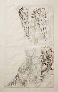 Liggende Venus. Jupiter. Dødens genius eller Amor. Fragment af selvportræt