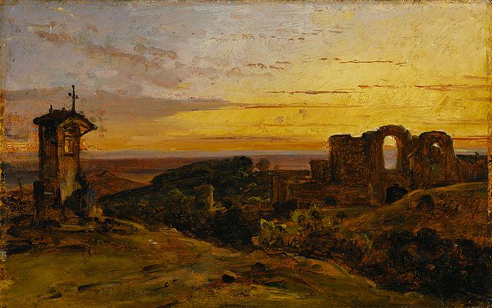 Landskab ved solnedgang
