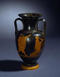 Amfora med mand og fløjtespillende kvinde (A) og yngling med en lyre og fløjtespillende kvinde (B). Græsk