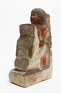Statuette af en knælende mand med en stele. Ægyptisk, 18. dynasti