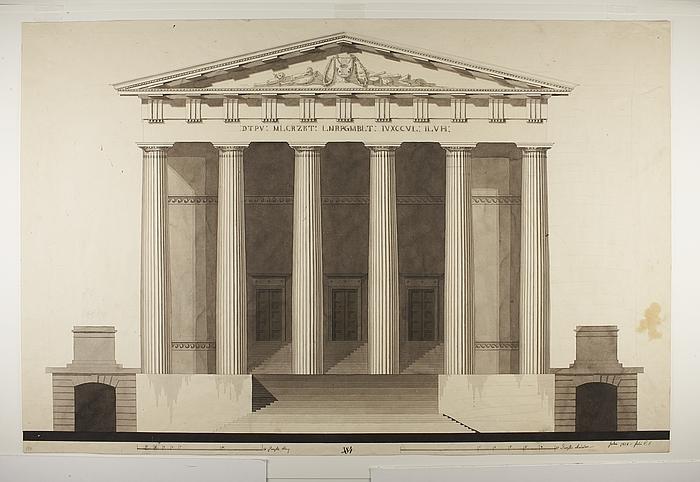 Teater i græsk stil, opstalt af dorisk facade