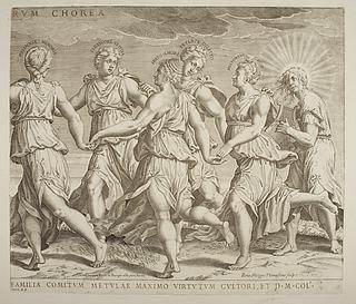 Fem muser danser til Apollons musik