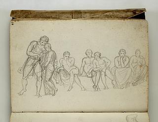 Stående figurer og figurer siddende på række