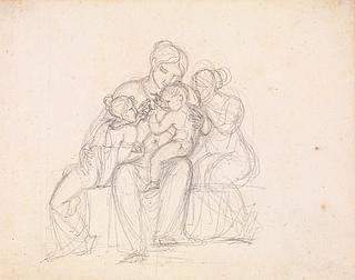 J.L. Lund: Figurgruppe. Kvinde og tre børn, blyant, 186 x 239 mm, inv.nr. KKSgb15192, Kobberstiksamlingen