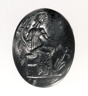 Fortuna siddende med skibsror og overflødighedshorn. Hellenistisk-romersk ringsten