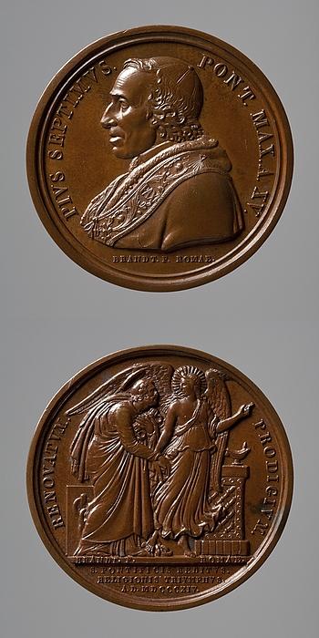 Medalje forside: Pius 7. Medalje bagside: Englen fører Peter ud af fængslet
