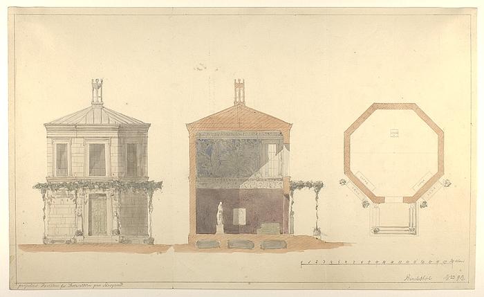 Pavillion for Thorvaldsen på Skovgaard, grundplan, snit og opstalt
