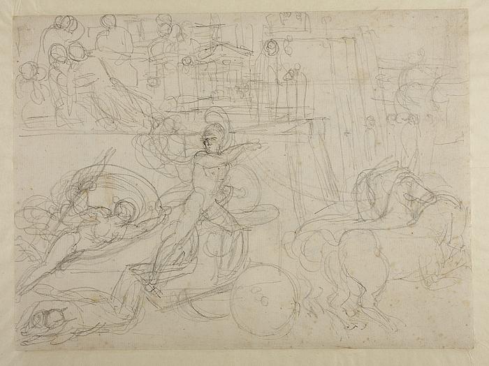 Achilleus slæber Hektors lig efter sin vogn. Segnende kvinde der støttes