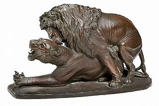 Carl Bonnesen: To løver, 1906, bronze, 16 x 31 x 15,5 cm, privateje, et eksemplar på Statens Museum for Kunst, inv.nr. KMS5603. Foto Bruun Rasmussens Kunstauktioner