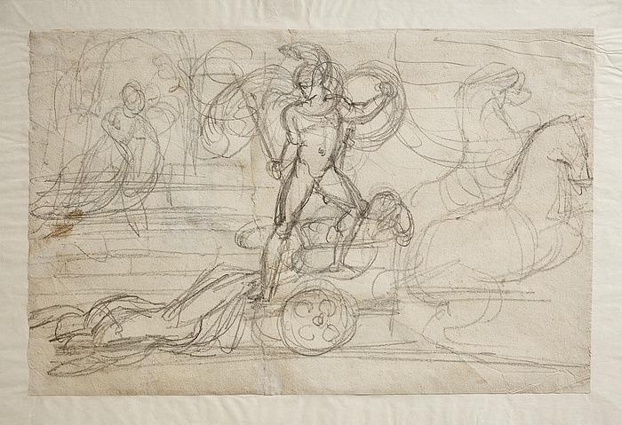 Achilleus slæber Hektors lig efter sin vogn. Paolo og Francesca(?)