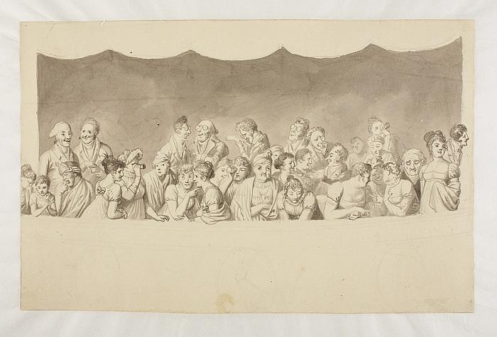 Tilskuere i en teaterloge i København omkring 1808